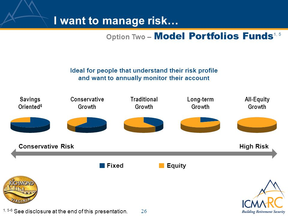 26 I want to manage risk… Option Two – Model Portfolios Funds 1, 5 Savings Oriented 6 Conservative Growth Traditional Growth All-Equity Growth Long-term Growth Conservative RiskHigh Risk 1, 5-6 See disclosure at the end of this presentation.