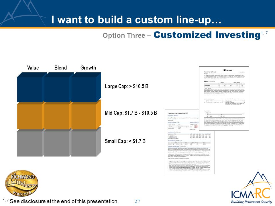 27 I want to build a custom line-up… Option Three – Customized Investing 1, 7 1, 7 See disclosure at the end of this presentation.