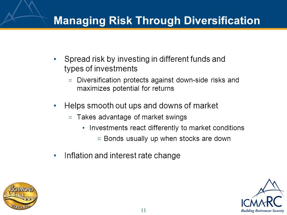 11 Managing Risk Through Diversification Spread risk by investing in different funds and types of investments Diversification protects against down-side risks and maximizes potential for returns Helps smooth out ups and downs of market Takes advantage of market swings Investments react differently to market conditions Bonds usually up when stocks are down Inflation and interest rate change