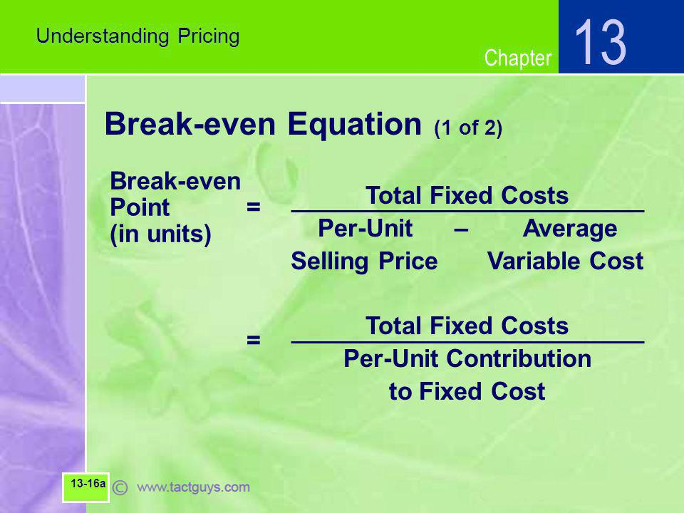 Chapter Break-even Equation (1 of 2) Understanding Pricing 13 13-16a Total Fixed Costs Per-Unit–Average Selling Price Variable Cost Total Fixed Costs Per-Unit Contribution to Fixed Cost Break-even Point = (in units) =