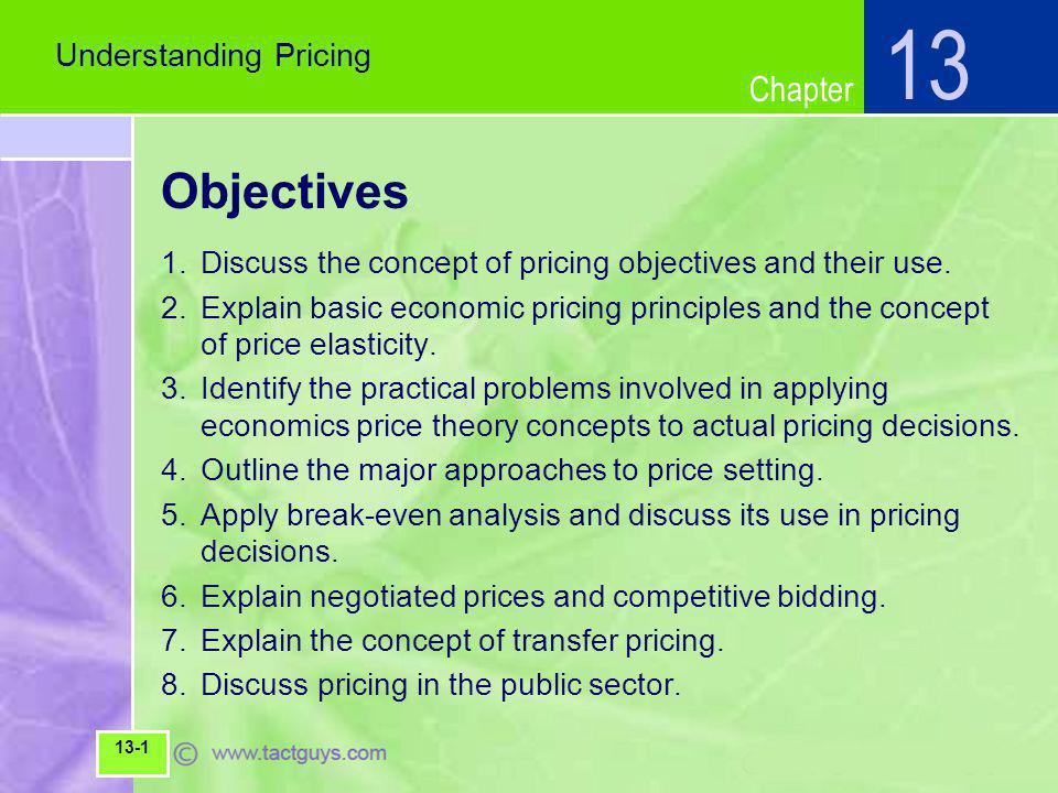 Chapter Concept of Demand Elasticity 1.Elastic=Demand relatively sensitive to price 2.Inelastic=Demand relative insensitive to price Understanding Pricing 13 13-11