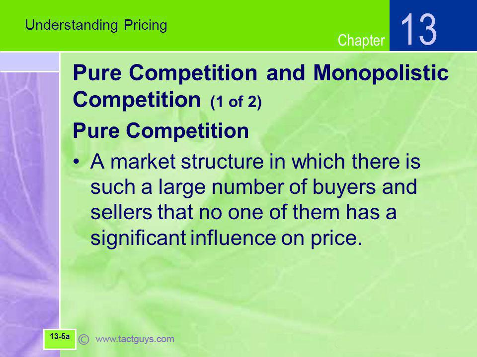 Chapter Pure Competition and Monopolistic Competition (1 of 2) Pure Competition A market structure in which there is such a large number of buyers and sellers that no one of them has a significant influence on price.