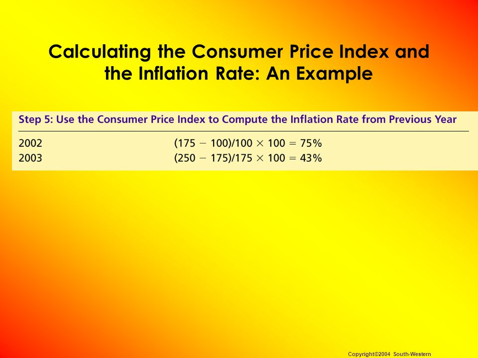How the Consumer Price Index Is Calculated Calculating the Consumer Price Index and the Inflation Rate: Another Example –Base Year is 2002.