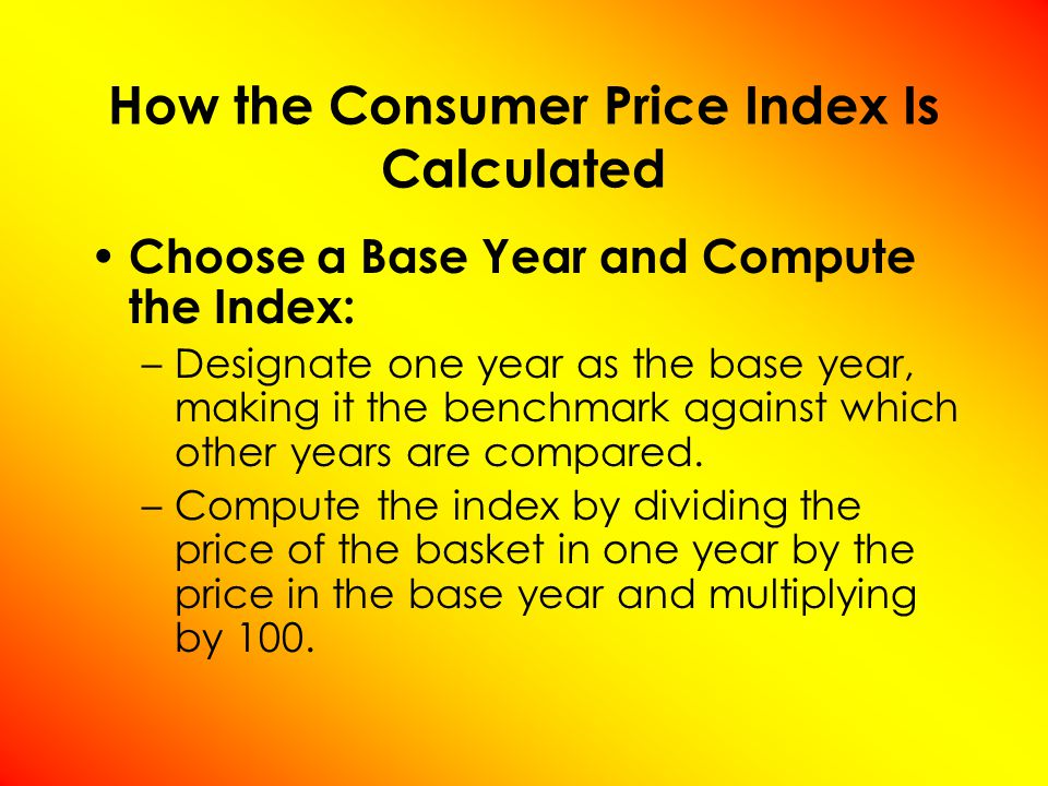 Compute the inflation rate: ( π %) The inflation rate is the percentage change in the price index from the preceding period.