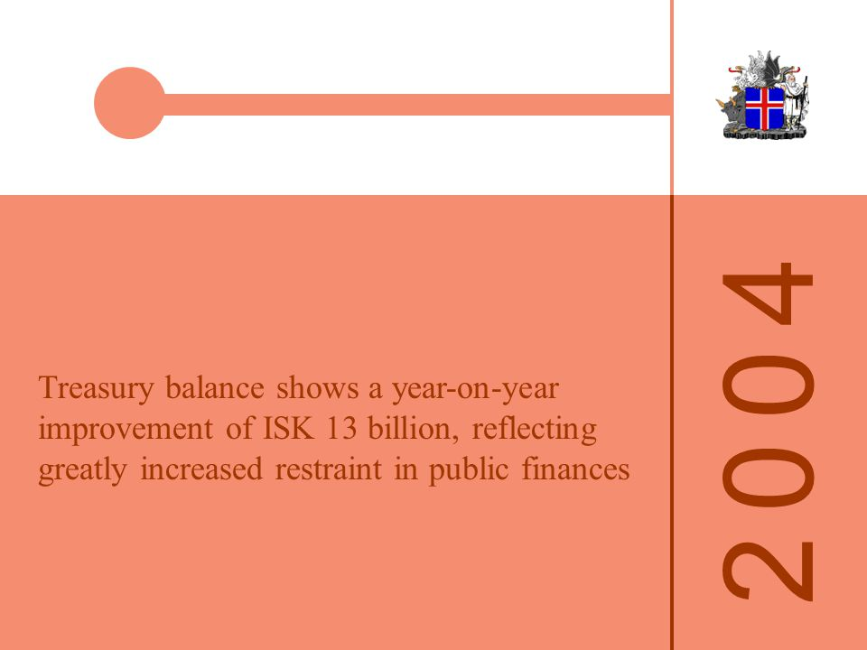 2 0 0 42 0 0 4 Medium-term Public Finance Programme 2005-2007 National public works cut by ISK 5 billion over the next two years, then increased by the same amount 2007-2008 Treasury surplus of at least 1¾% of GDP in 2005 and 1% in 2006 Growth of public consumption slowed Annual growth max.
