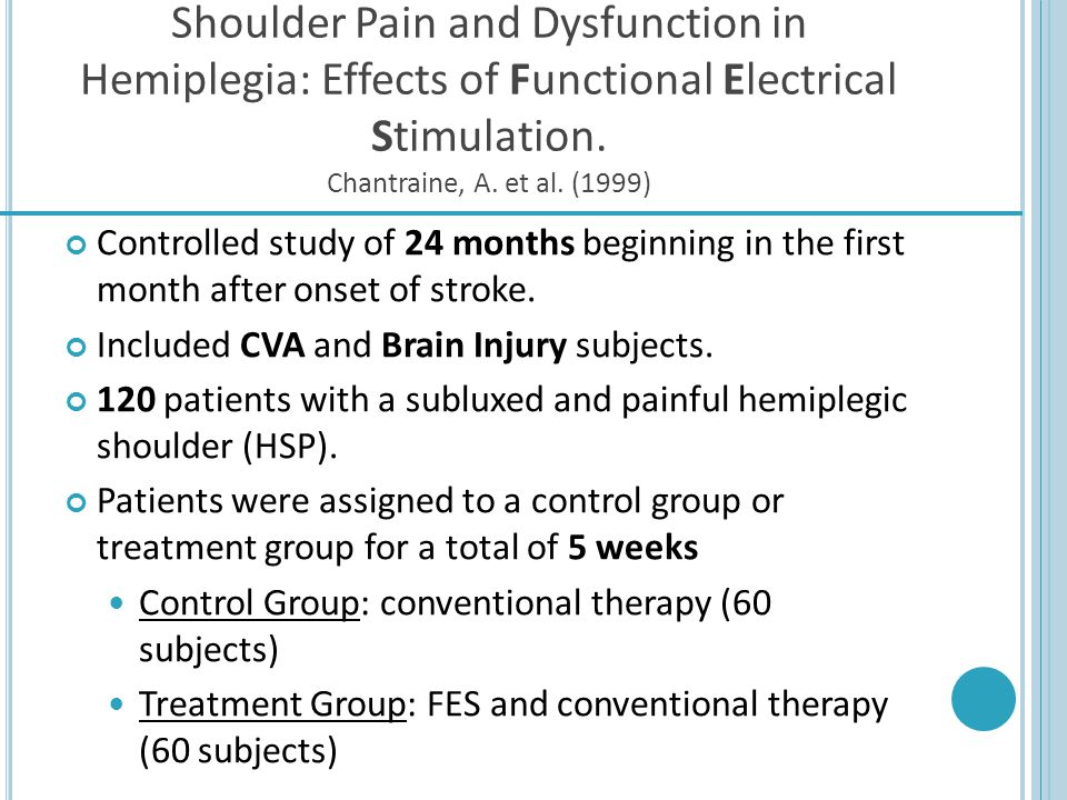 Shoulder Pain and Dysfunction in Hemiplegia: Effects of Functional Electrical Stimulation. Chantraine, A. et al. (1999) Controlled study of 24 months
