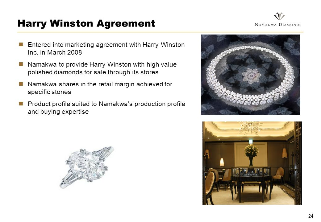24 Harry Winston Agreement Entered into marketing agreement with Harry Winston Inc.
