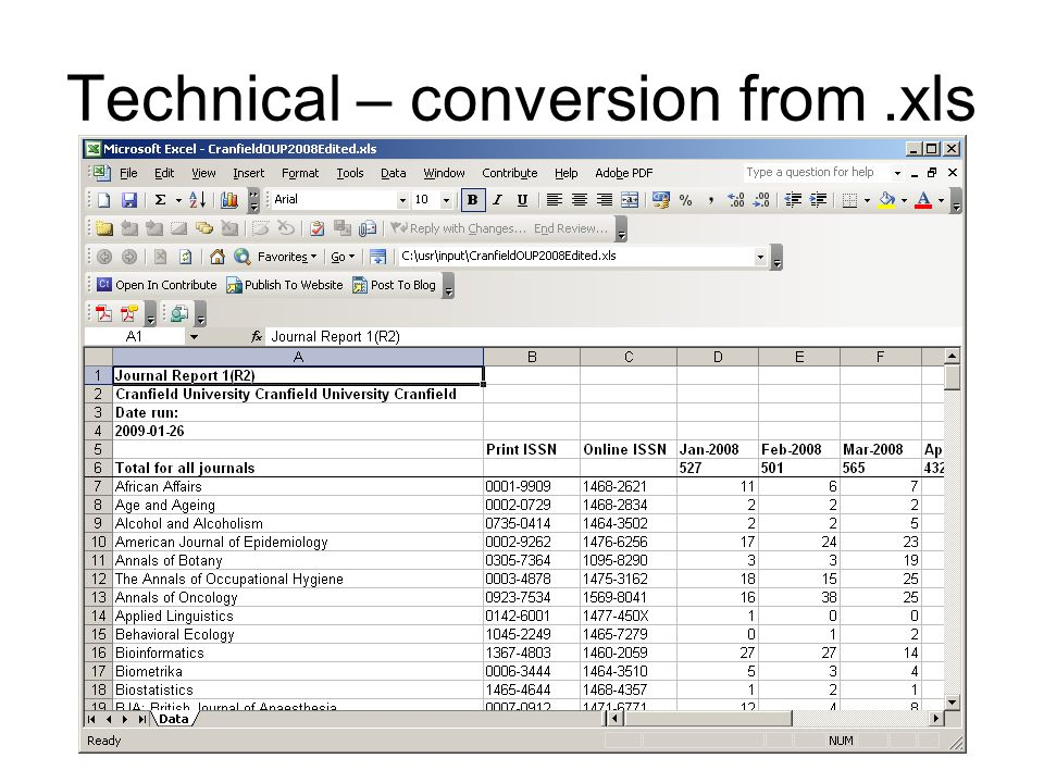 Technical – conversion from.xls