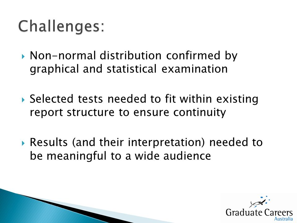 Non-normal distribution confirmed by graphical and statistical examination Selected tests needed to fit within existing report structure to ensure con