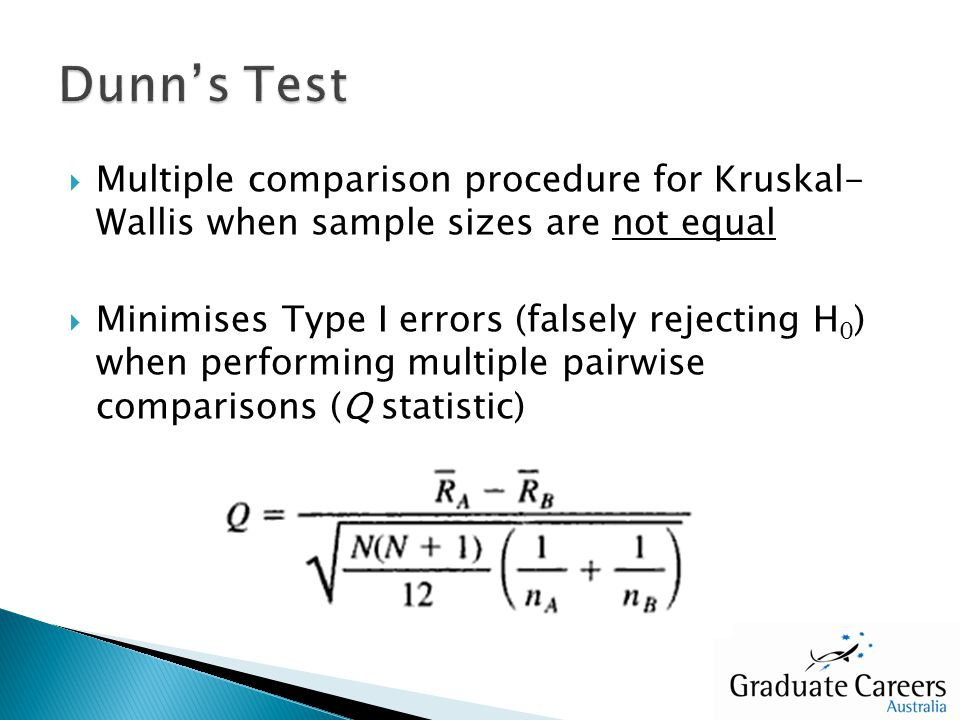 Multiple comparison procedure for Kruskal- Wallis when sample sizes are not equal Minimises Type I errors (falsely rejecting H 0 ) when performing mul