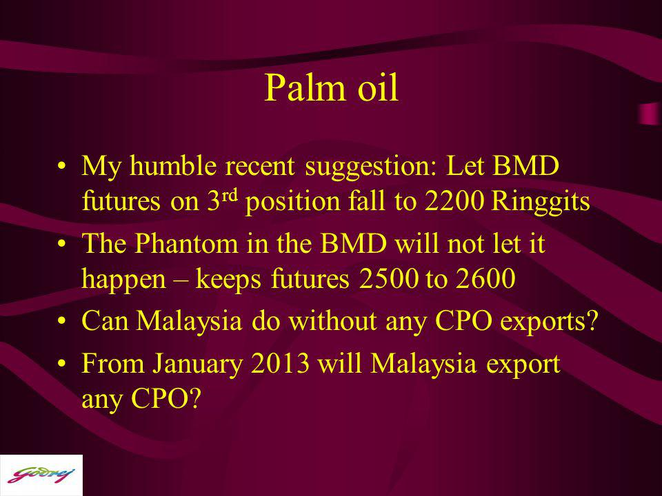 Palm oil My humble recent suggestion: Let BMD futures on 3 rd position fall to 2200 Ringgits The Phantom in the BMD will not let it happen – keeps fut