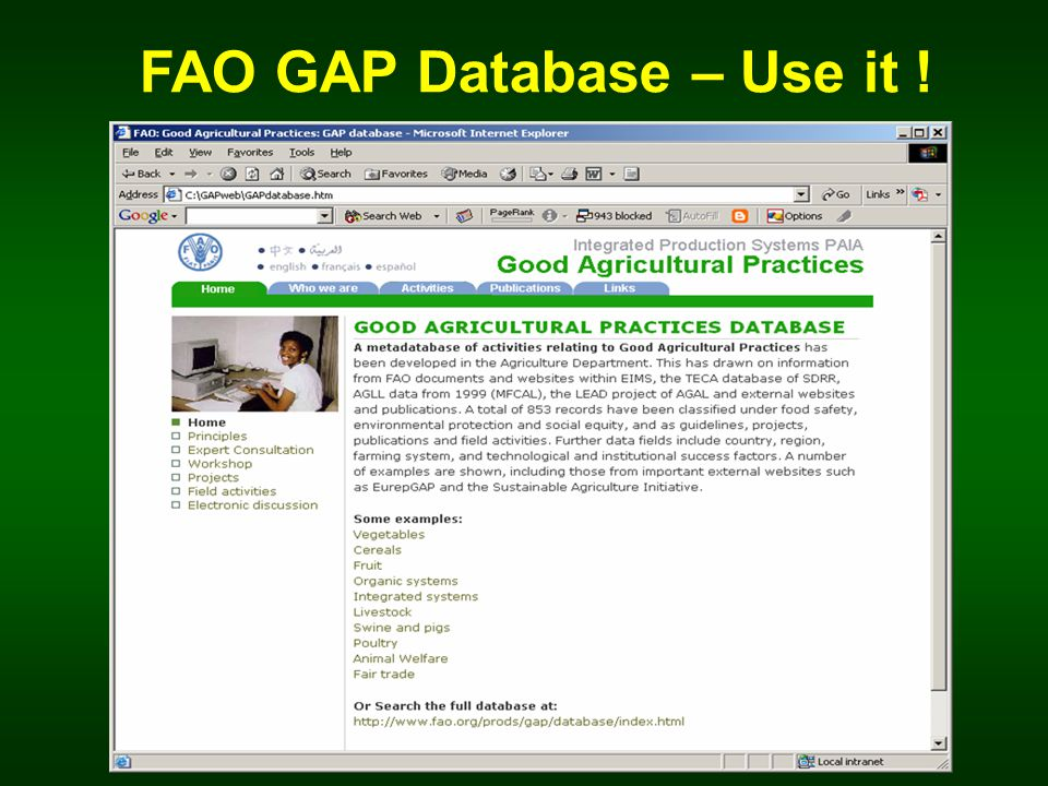 FAO GAP Database – Use it !