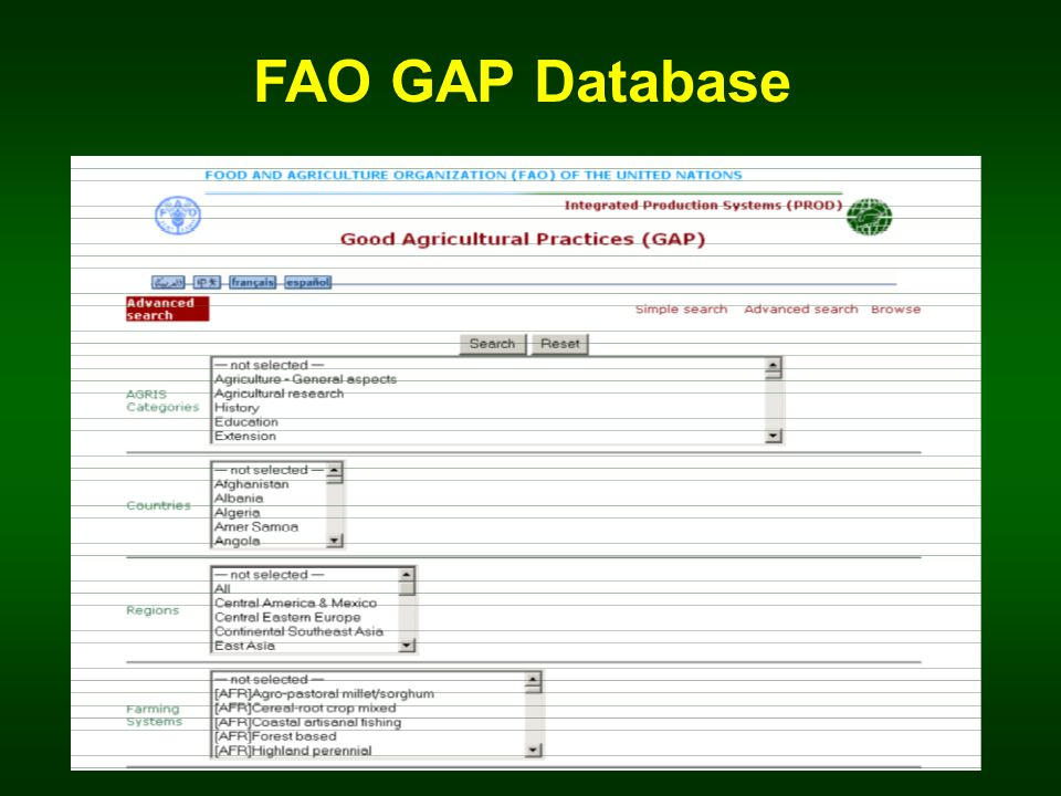 FAO GAP Database