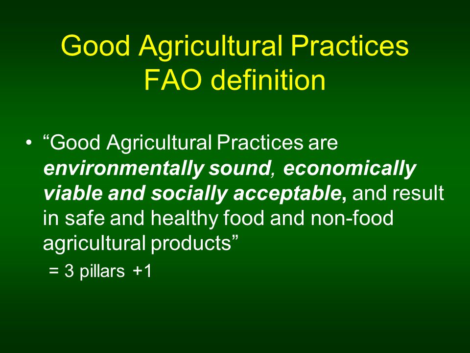 Good Agricultural Practices FAO definition Good Agricultural Practices are environmentally sound, economically viable and socially acceptable, and result in safe and healthy food and non-food agricultural products = 3 pillars +1