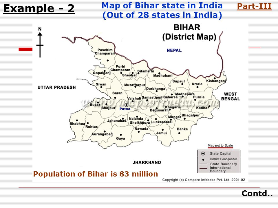 Map of Bihar state in India (Out of 28 states in India) Example - 2 Contd..