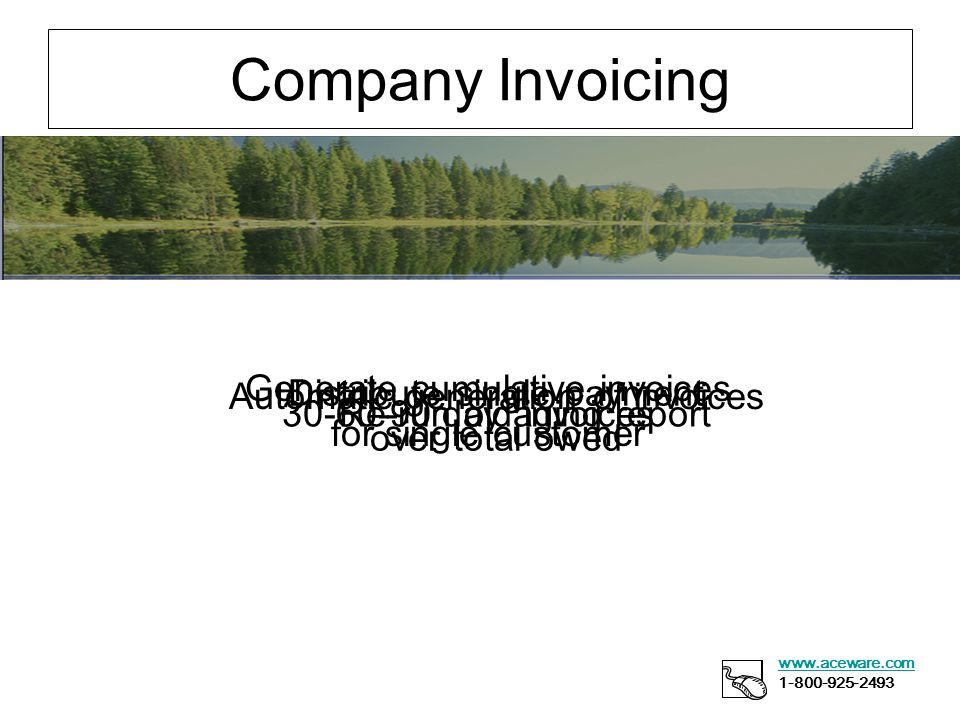 Company Invoicing www.aceware.com 1-800-925-2493 Generate cumulative invoices for single customer Distribute single payment over total owed Automatic generation of invoices Re-run old invoices30-60-90 day aging report