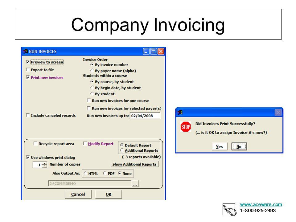 Company Invoicing www.aceware.com 1-800-925-2493