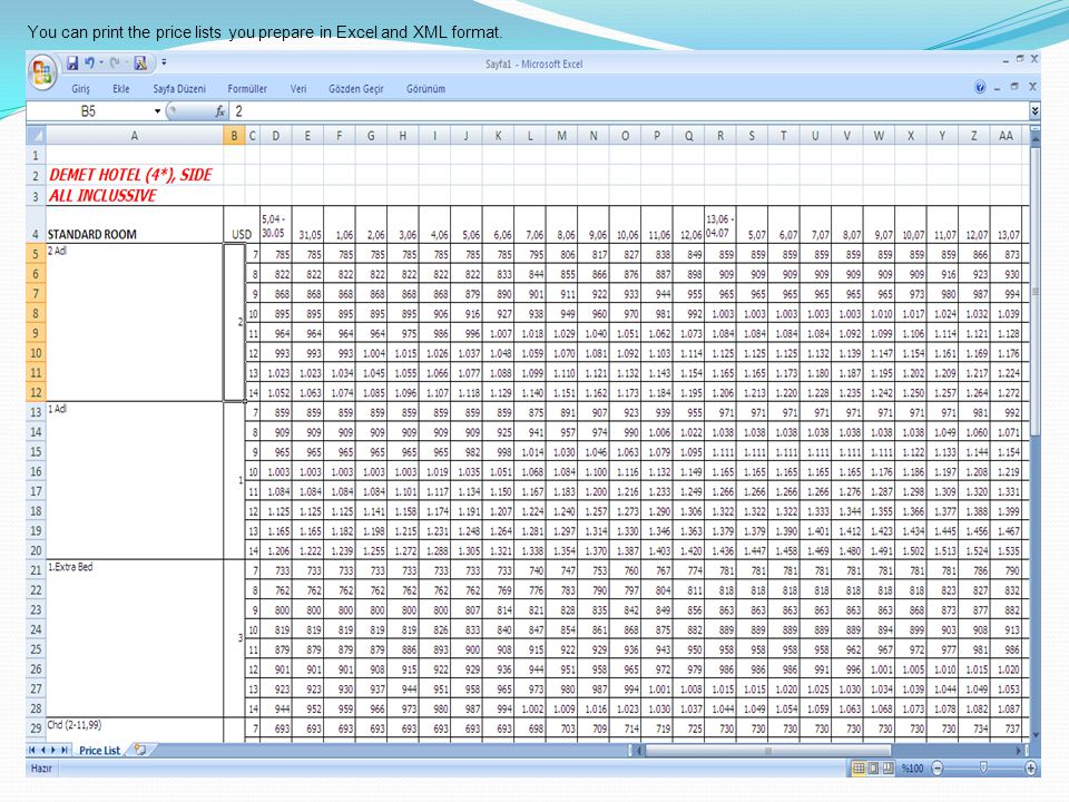 You can print the price lists you prepare in Excel and XML format.