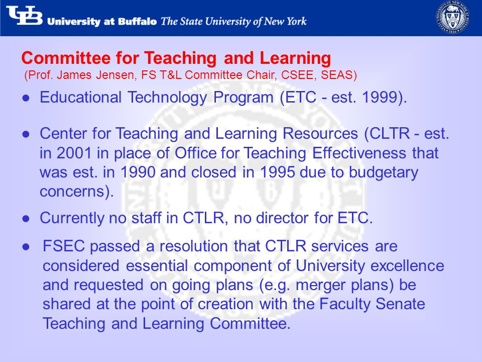 Committee for Teaching and Learning Educational Technology Program (ETC - est.