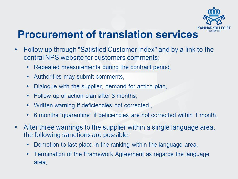 Procurement of translation services Follow up through
