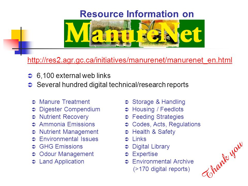 Resource Information on http://res2.agr.gc.ca/initiatives/manurenet/manurenet_en.html 6,100 external web links Several hundred digital technical/research reports Manure Treatment Digester Compendium Nutrient Recovery Ammonia Emissions Nutrient Management Environmental Issues GHG Emissions Odour Management Land Application Storage & Handling Housing / Feedlots Feeding Strategies Codes, Acts, Regulations Health & Safety Links Digital Library Expertise Environmental Archive (>170 digital reports)