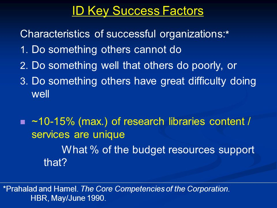 ID Key Success Factors Characteristics of successful organizations: * 1.