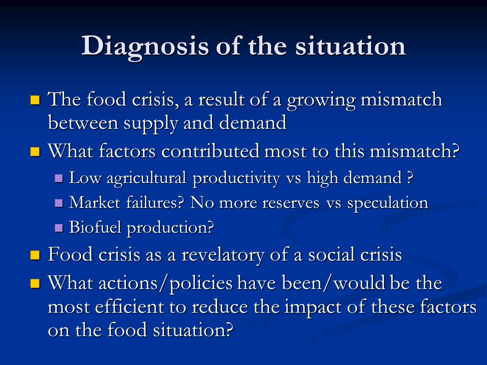 High Profile commitment needed A need to ensure continued high level policy attention to global food security.