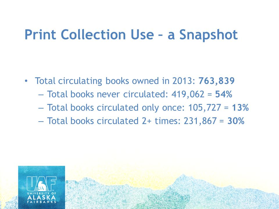 Print Collection Use – a Snapshot Total circulating books owned in 2013: 763,839 – Total books never circulated: 419,062 = 54% – Total books circulated only once: 105,727 = 13% – Total books circulated 2+ times: 231,867 = 30% Print Collection Use – a Snapshot