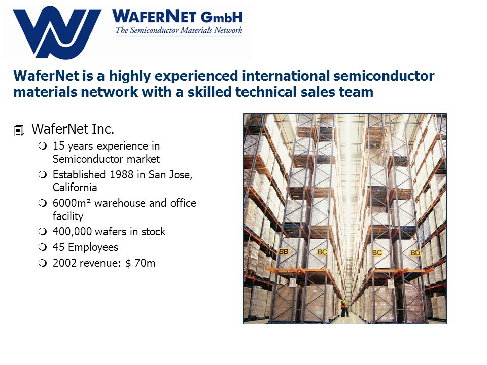 WaferNet GmbH is a wholly owned subsidiary of WaferNet Inc.
