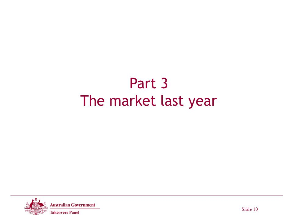 Slide 10 Part 3 The market last year