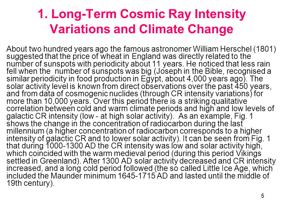 6 The change of CR intensity reflected in radiocarbon concentration during the last millennium.