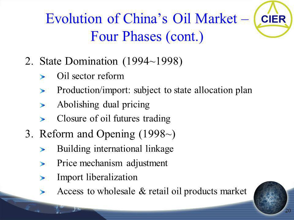 20 Evolution of Chinas Oil Market – Four Phases (cont.) 2. State Domination (1994~1998) Oil sector reform Production/import: subject to state allocati
