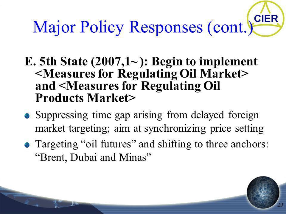 29 Major Policy Responses (cont.) E.