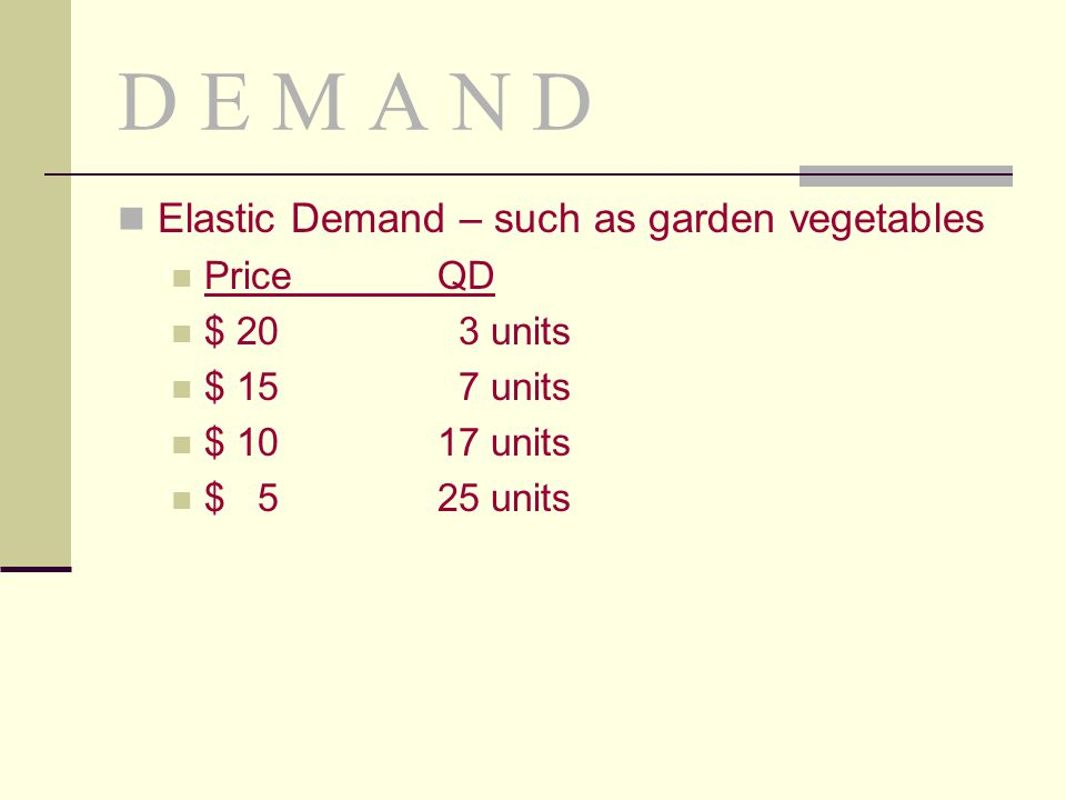 D E M A N D Elastic Demand – such as garden vegetables PriceQD $ 20 3 units $ 15 7 units $ 10 17 units $ 525 units