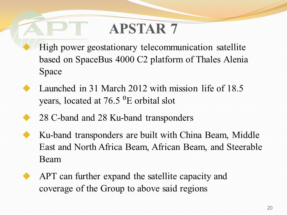 APSTAR 7 High power geostationary telecommunication satellite based on SpaceBus 4000 C2 platform of Thales Alenia Space Launched in 31 March 2012 with mission life of 18.5 years, located at 76.5 E orbital slot 28 C-band and 28 Ku-band transponders Ku-band transponders are built with China Beam, Middle East and North Africa Beam, African Beam, and Steerable Beam APT can further expand the satellite capacity and coverage of the Group to above said regions 20
