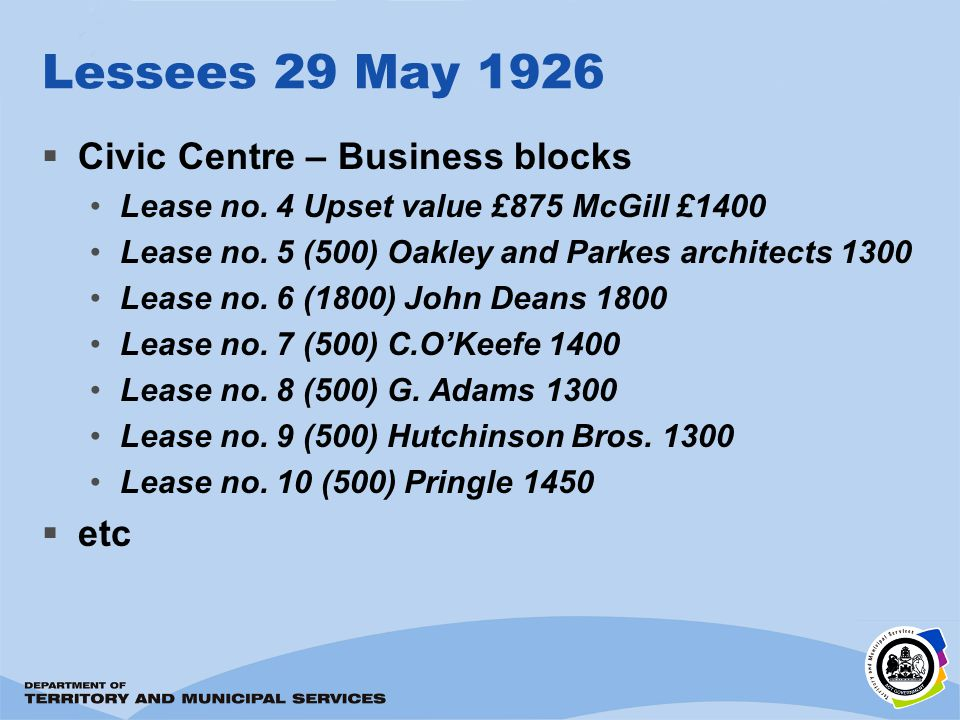 Lessees 29 May 1926 Civic Centre – Business blocks Lease no.