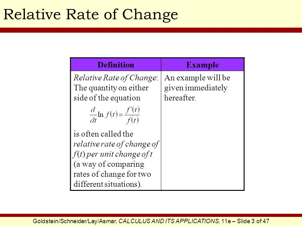 Goldstein/Schneider/Lay/Asmar, CALCULUS AND ITS APPLICATIONS, 11e – Slide 3 of 47 Relative Rate of Change DefinitionExample Relative Rate of Change: T