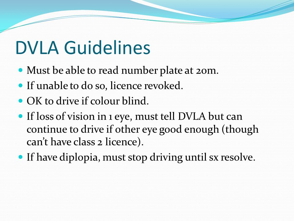 DVLA Guidelines Must be able to read number plate at 20m.