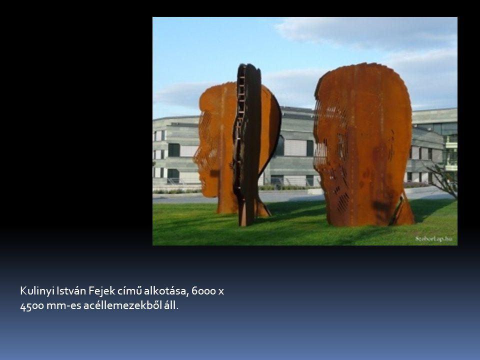 Kulinyi István Fejek című alkotása, 6000 x 4500 mm-es acéllemezekből áll.