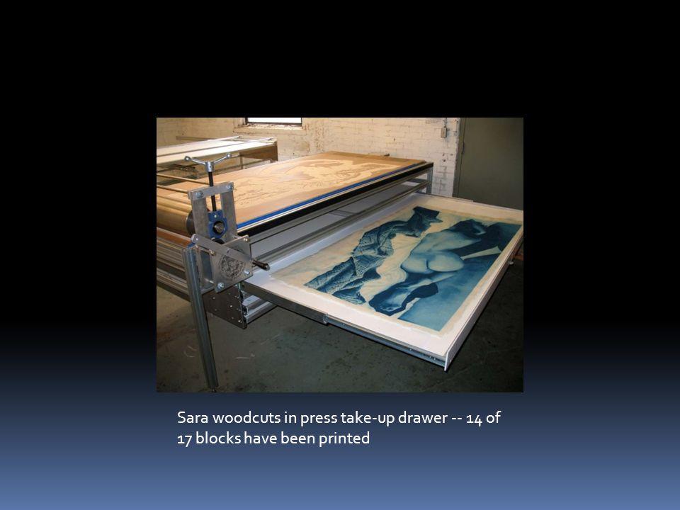 Sara woodcuts in press take-up drawer -- 14 of 17 blocks have been printed