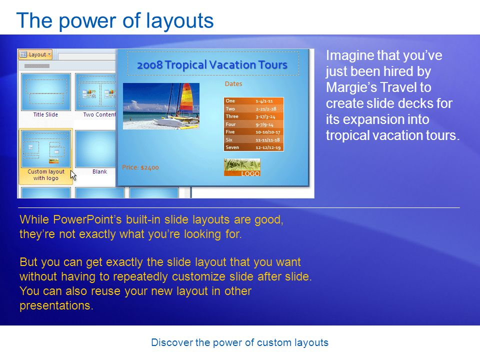 Discover the power of custom layouts The power of layouts Imagine that youve just been hired by Margies Travel to create slide decks for its expansion into tropical vacation tours.