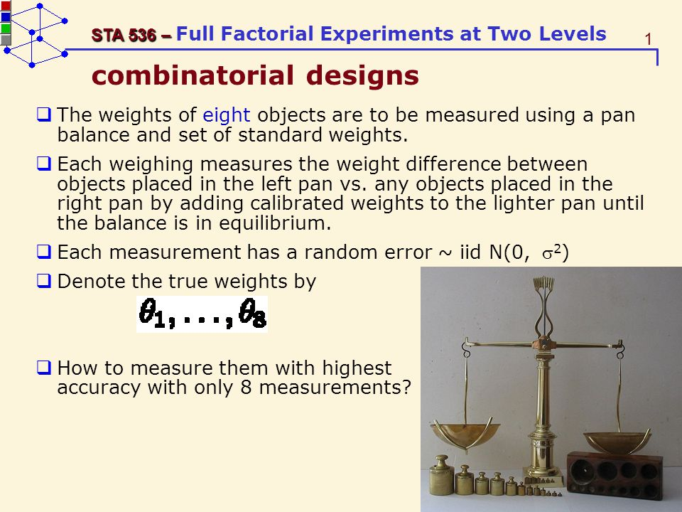 52 STA 536 – STA 536 – Full Factorial Experiments at Two Levels ME(A)=1/2(y1+y2) -1/2(y3+y3) Var(ME A )=1/4*(σ 2 +σ 2 ) +1/4*(σ 2 +σ 2 )=σ 2 ME(A)=y1-y3 Var(ME A )=σ 2 +σ 2 =2σ 2 y11 y12 y31 y32 y41 y42 ME(A)=1/2(y11+y12) -1/2(y31+y32) Var(ME A )=1/4*(σ 2 +σ 2 ) +1/4*(σ 2 +σ 2 )=σ 2 The 2 2 design requires 4 runs, For ofat to have the same precision, each of the 3 corners on the ofat path needs to have 2 runs, totaling 6 runs; The 2 3 design requires 8 runs.