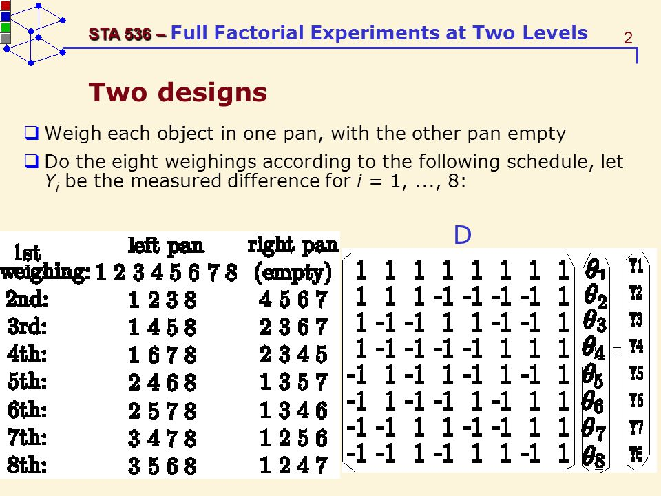 33 STA 536 – STA 536 – Full Factorial Experiments at Two Levels The three-factor interaction The three-factor interaction (A × B × C ) can be defined in terms of conditional 2-factor interactions as follows: Or defined as the difference between two group averages