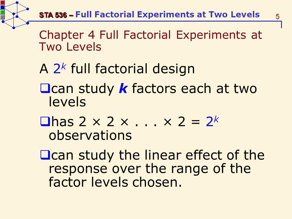 16 STA 536 – STA 536 – Full Factorial Experiments at Two Levels Remark Distinction among design matrix: (factors A,B,C,D, levels /+, systematic order) planning matrix: (actual factors and levels, randomized run order) model matrix: the X matrix in linear model