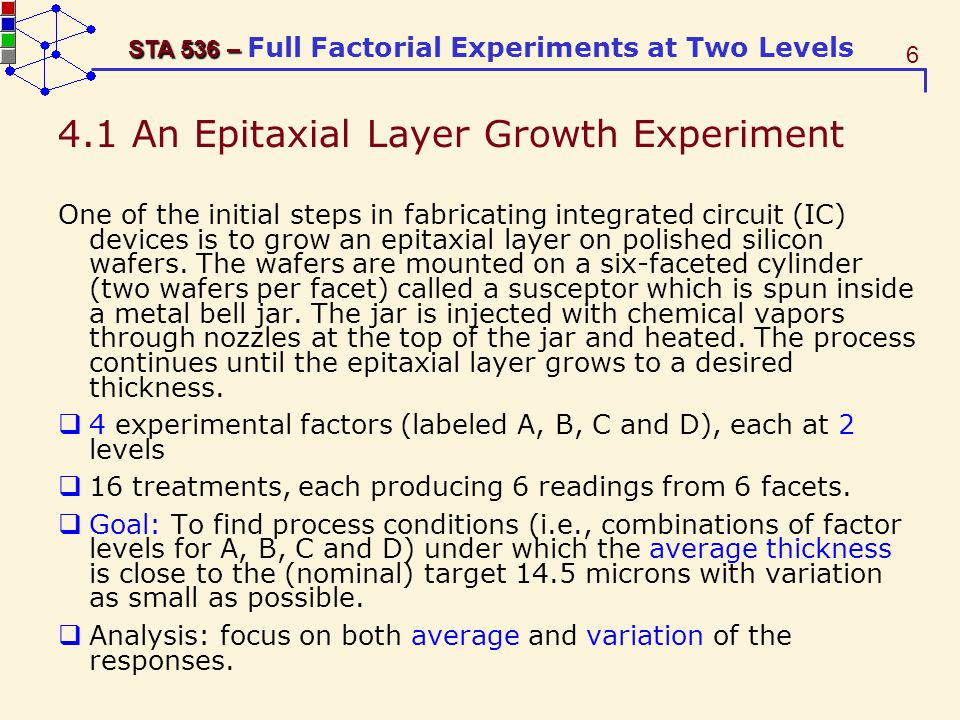 7 STA 536 – STA 536 – Full Factorial Experiments at Two Levels The AT&T experiment based on 2 4 design; four factors each at two levels.