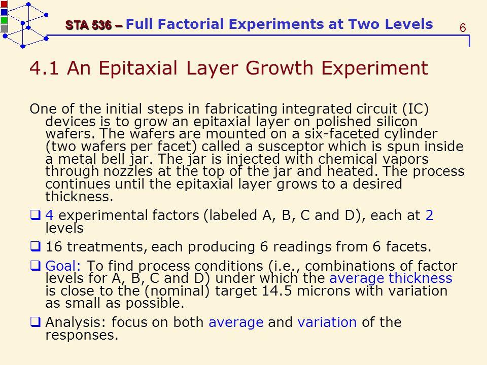 77 STA 536 – STA 536 – Full Factorial Experiments at Two Levels Standard Parameter Estimate Error t Value Pr > |t| Intercept 27.75000000 B 1.01721297 27.28 <.0001 A 4.16666667 0.58728818 7.09 0.0004 B -2.50000000 0.58728818 -4.26 0.0053 AB 0.83333333 0.58728818 1.42 0.2057 Batch 1 0.50000000 B 1.43855638 0.35 0.7400 Batch 2 -1.25000000 B 1.43855638 -0.87 0.4183 Batch 3 0.00000000 B...