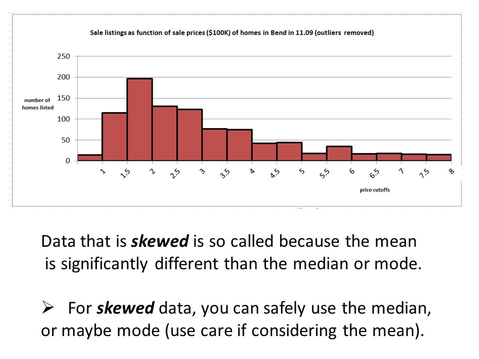 Data that is skewed is so called because the mean is significantly different than the median or mode.