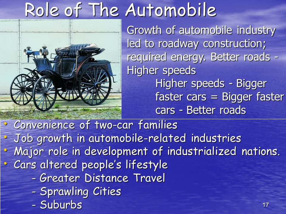 17 Role of The Automobile Convenience of two-car families Convenience of two-car families Job growth in automobile-related industries Job growth in automobile-related industries Major role in development of industrialized nations.