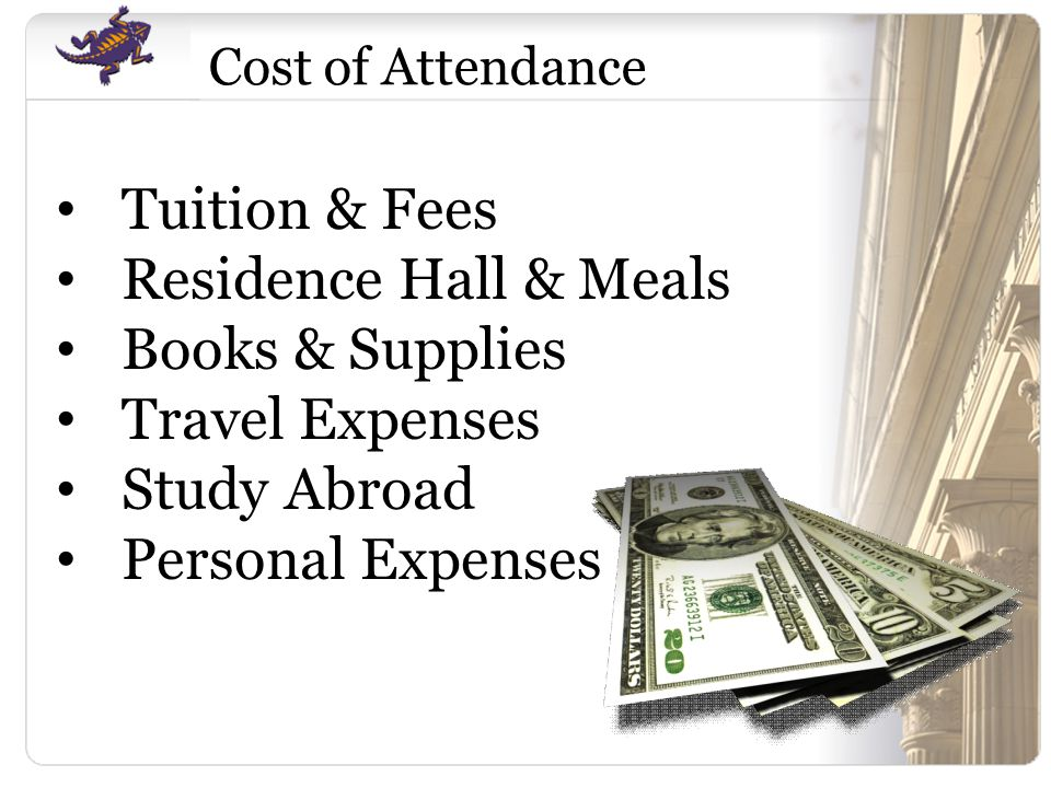 Tuition & Fees Residence Hall & Meals Books & Supplies Travel Expenses Study Abroad Personal Expenses Cost of Attendance