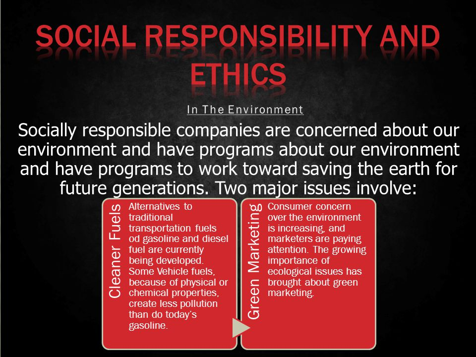 Socially responsible companies are concerned about our environment and have programs about our environment and have programs to work toward saving the